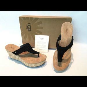 "Shoes - In box UGG Zamora leather WEDGE SANDAL 10 3"" high"